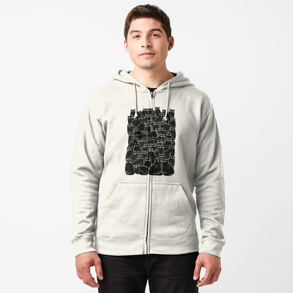 Suspicious Cats Zipped Hoodie