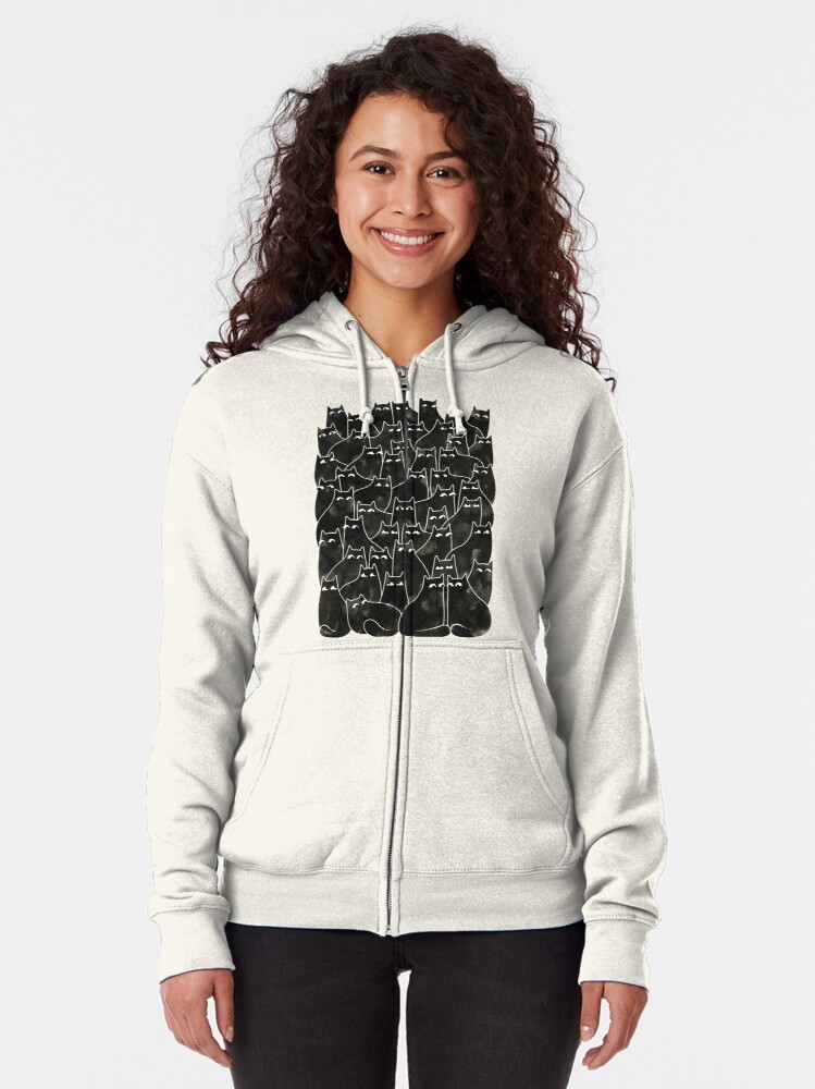 Alternate view of Suspicious Cats Zipped Hoodie