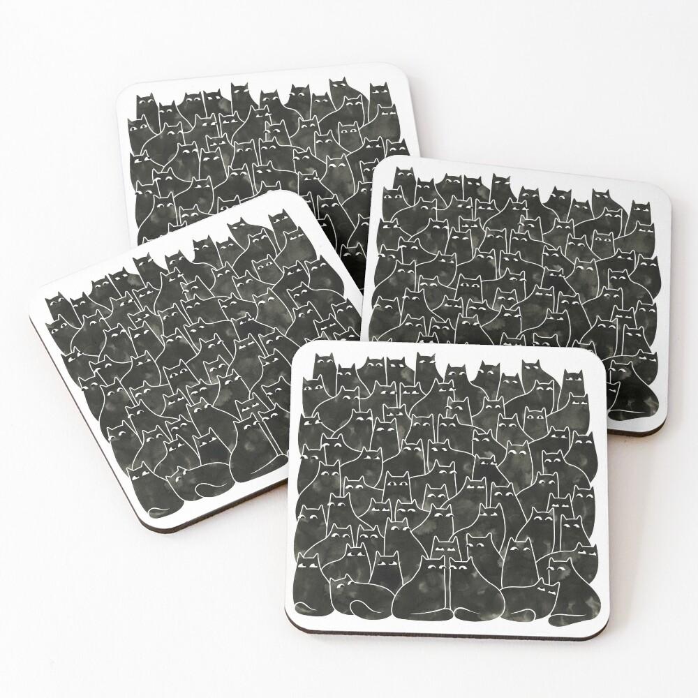 Suspicious Cats Coasters (Set of 4)