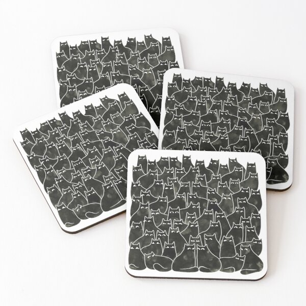 Suspicious Cats Coasters (Set of 4)