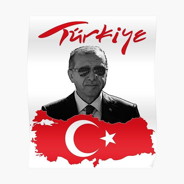 Recep Tayyip Erdogan Türkiye Turkey flag Poster