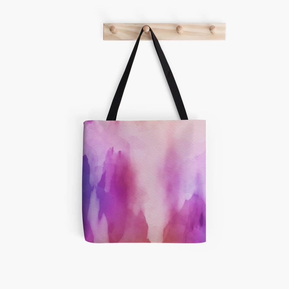 Pinks & Purple Watercolor Positive Space Tote Bag