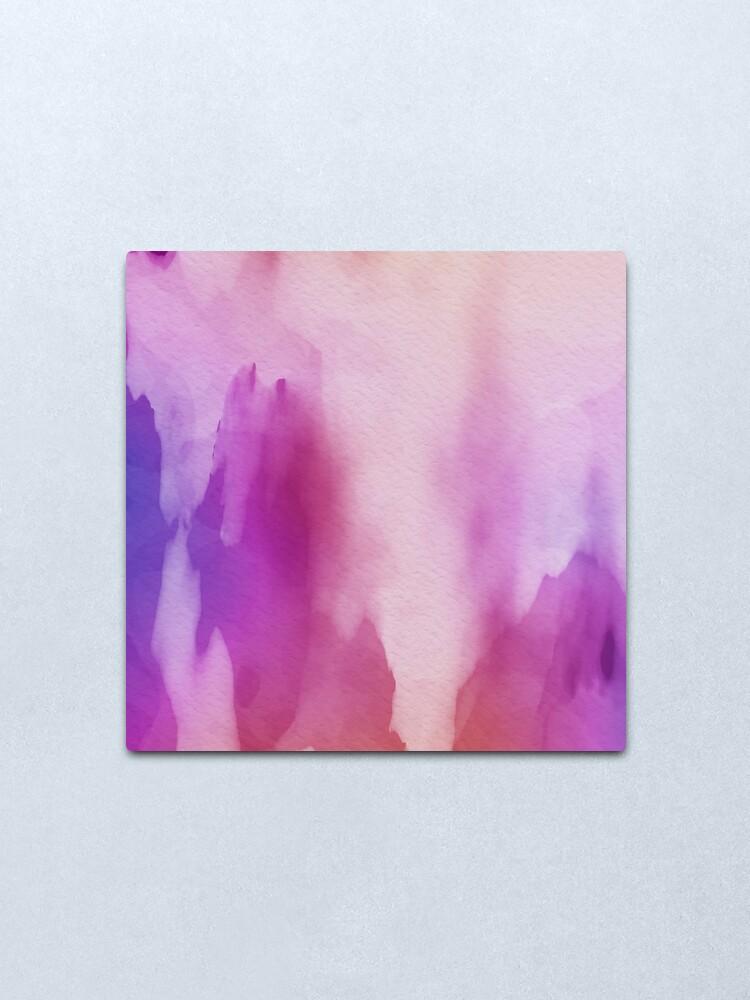 Alternate view of Pinks & Purple Watercolor Positive Space Metal Print
