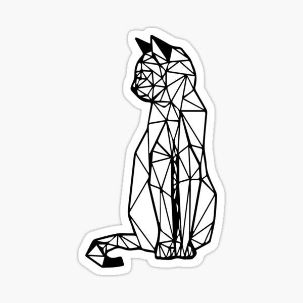 gato geometrico I line art I arte geometrico  Pegatina