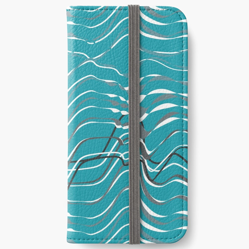 dynamic gray waves on turquoise shapelines iPhone Wallet