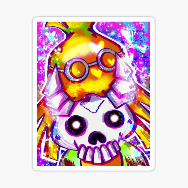 Rainbow Glitter Skull Kid Sticker