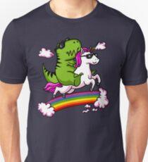 T-Rex Dinosaur Riding Unicorn Magical Rainbow Party Slim Fit T-Shirt
