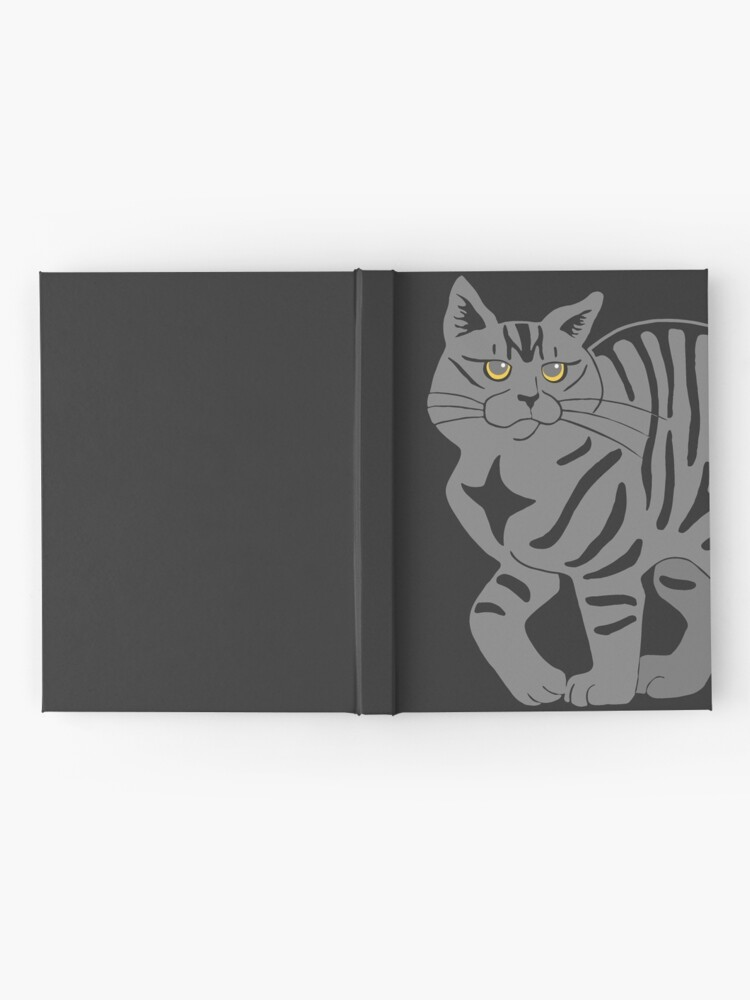 Alternate view of Gray Tabby Cat - tiger stripe Hardcover Journal