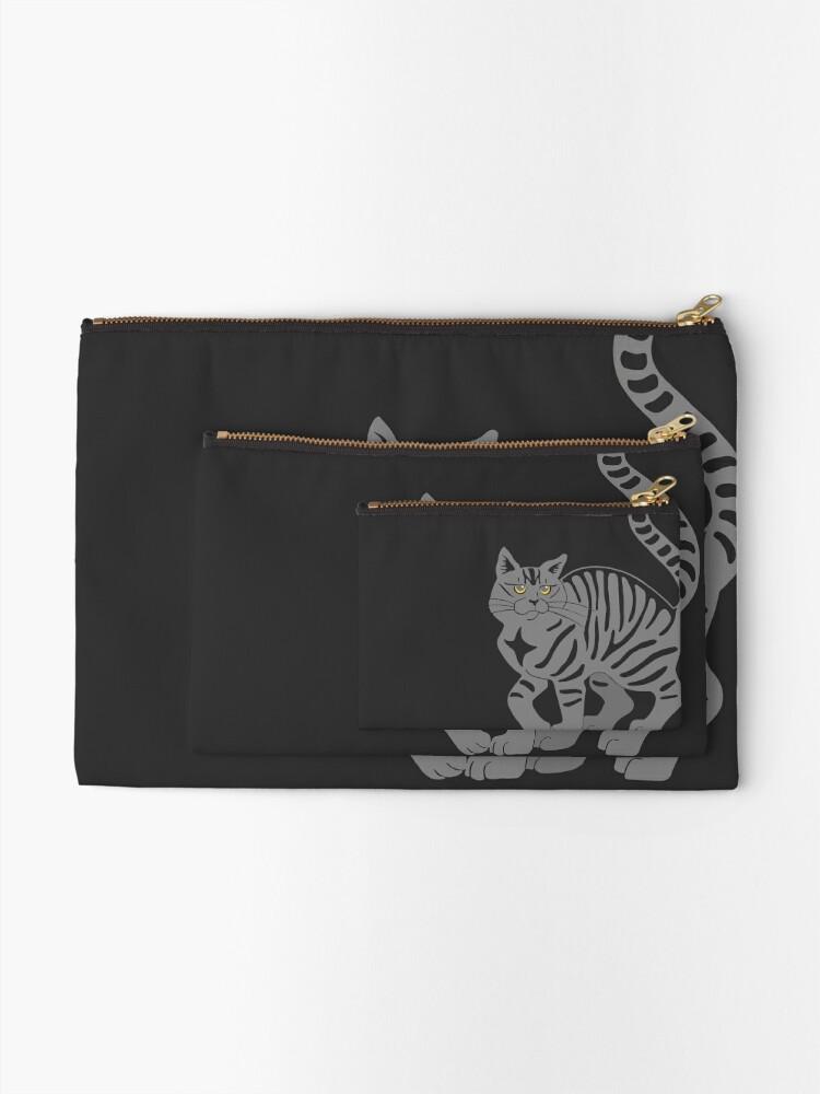 Alternate view of Gray Tabby Cat - tiger stripe Zipper Pouch