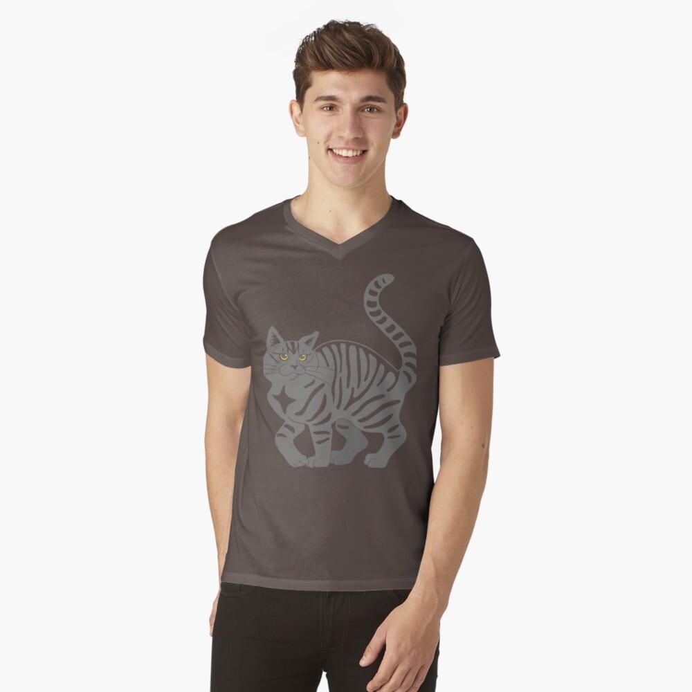 Gray Tabby Cat - tiger stripe V-Neck T-Shirt