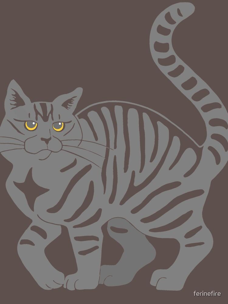 Gray Tabby Cat - tiger stripe by ferinefire