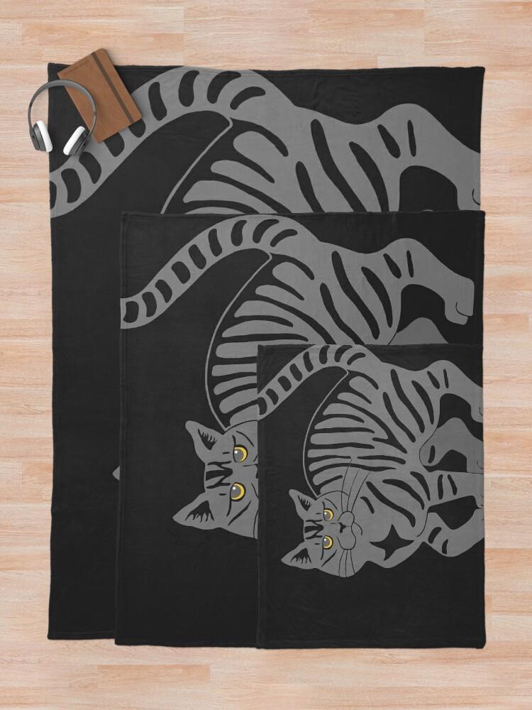 Alternate view of Gray Tabby Cat - tiger stripe Throw Blanket