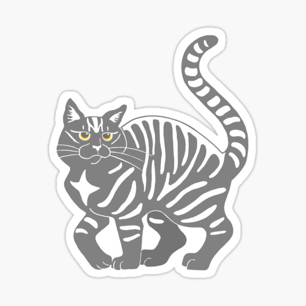 Gray Tabby Cat - tiger stripe Sticker