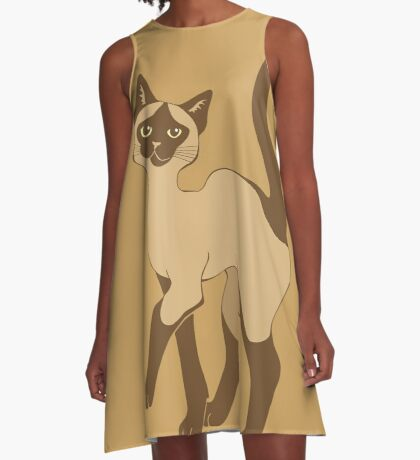 Strutting Siamese Cat - brown point A-Line Dress
