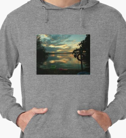 OPALESCENT COLORS ON THE LAKE Lightweight Hoodie