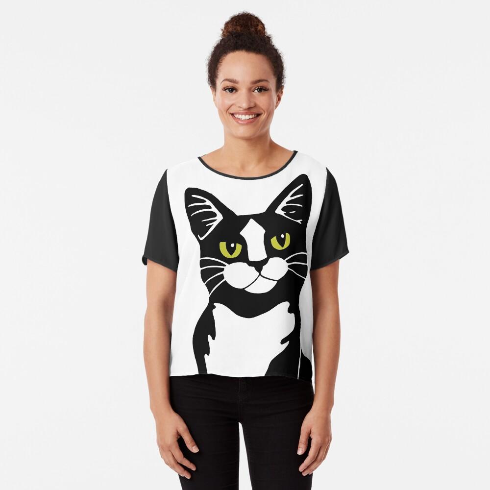 Tuxedo Cat Chiffon Top