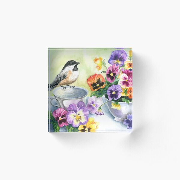 Little Sip  - Chickadee with Pansies Acrylic Block