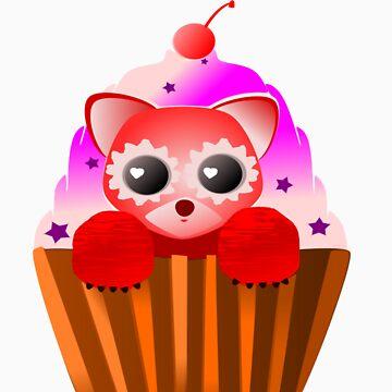 Red Velvet Panda Cupcake by fishcakefillet