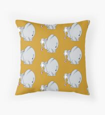 Shy elephant with a heart in the trunk Throw Pillow