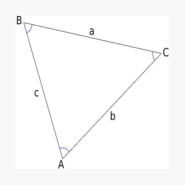 Math, #Triangle, #Geometry, #Trigonometry, #Math Formulas, Law of Sines, Angles, Sides Photographic Print