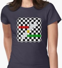 Black and White Check Checkered Flag Motorsports Race Day + Chess Women's Fitted T-Shirt