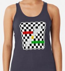 Black and White Check Checkered Flag Motorsports Race Day + Chess Women's Tank Top