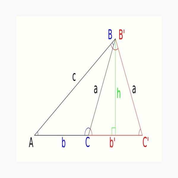 #Altitude, #Sine, #Cosine, #Triangle, Geometry, Trigonometry, Math Formulas, Angles Art Print
