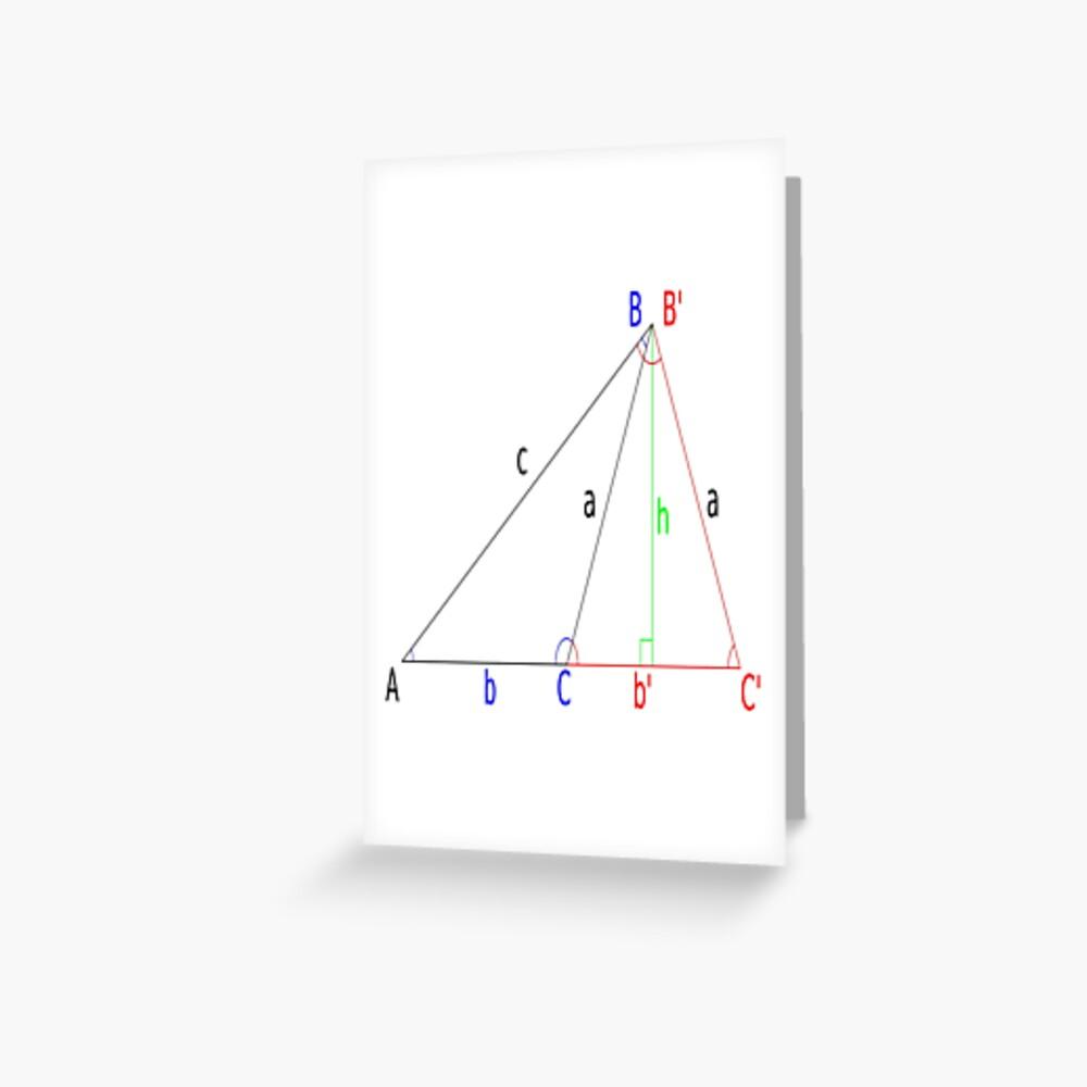 #Altitude, #Sine, #Cosine, #Triangle, Geometry, Trigonometry, Math Formulas, Angles Greeting Card