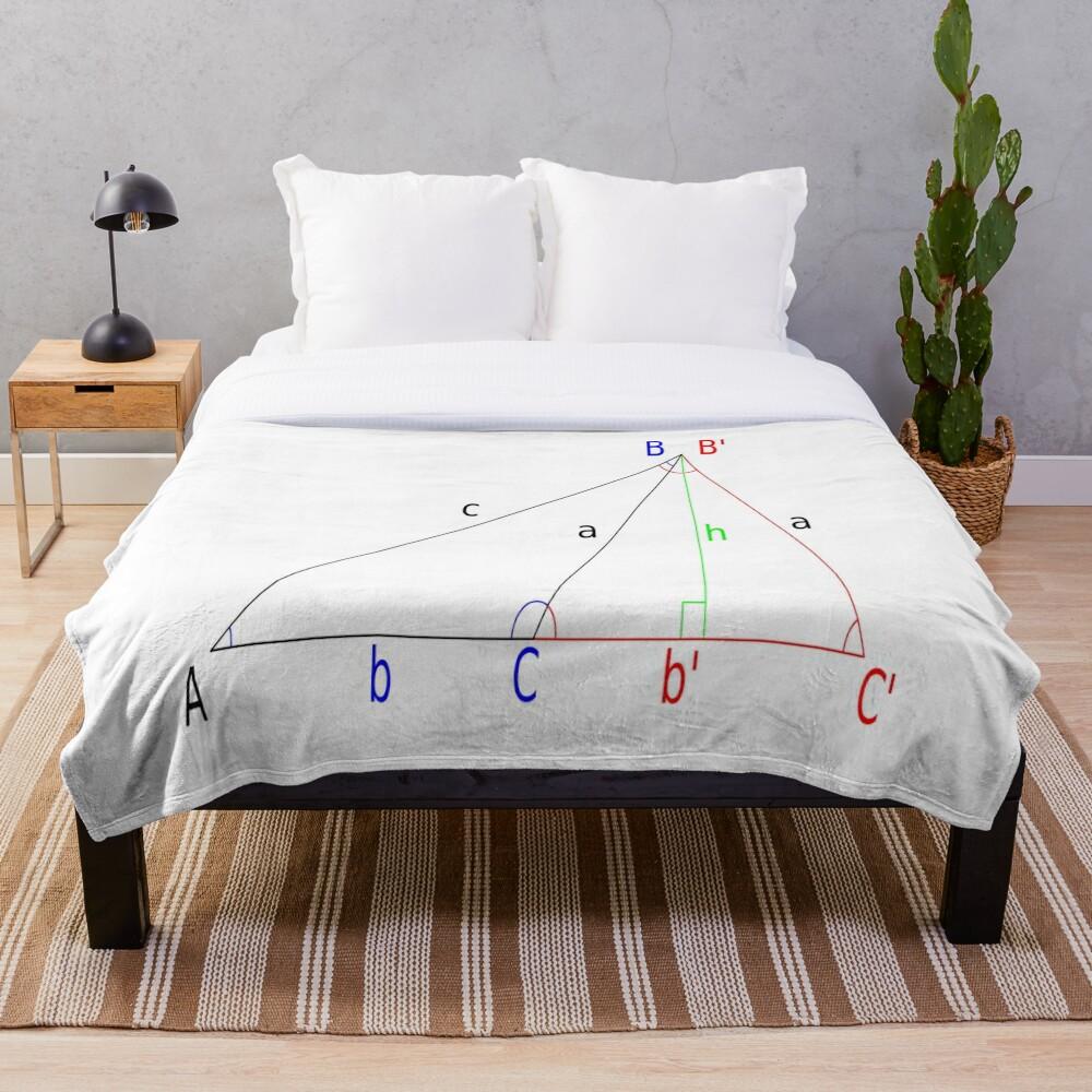 #Altitude, #Sine, #Cosine, #Triangle, Geometry, Trigonometry, Math Formulas, Angles Throw Blanket