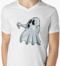 Halloween Booing Ghost V-Neck T-Shirt