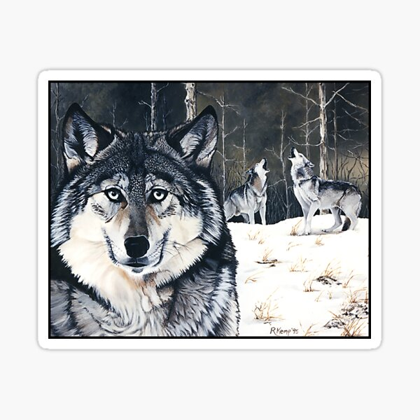 Three for the Wild - gray wolves Sticker