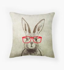 quirky bunny Throw Pillow