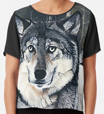 Three for the Wild - gray wolves Chiffon Top