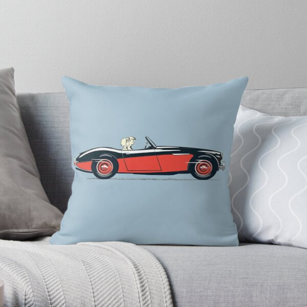 Black over Colorado Red Austin Healey 3000 in 1959 launch style promotion  Throw Pillow