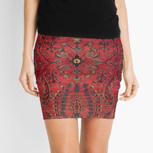 Red Persian Carpet - Persian Vintage Antique Carpet Nature Fine Art Mini Skirt