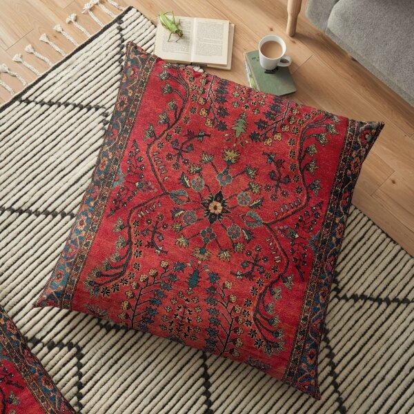 Red Persian Carpet - Persian Vintage Antique Carpet Nature Fine Art Floor Pillow