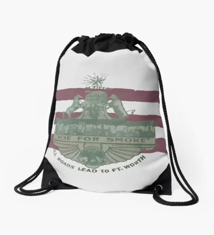 1912 Fort Worth Flag - We're For Smoke - All Roads Lead to Ft. Worth (Recolored) Drawstring Bag