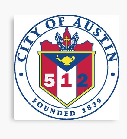 City of Austin Seal with 512 Area Code Canvas Print