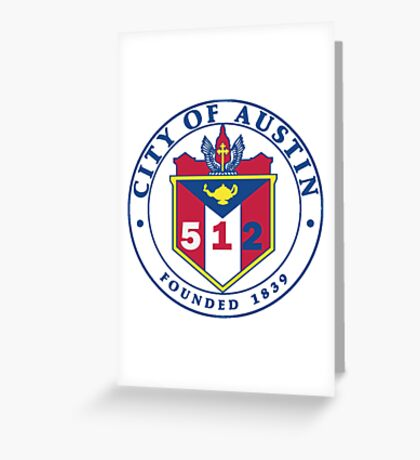City of Austin Seal with 512 Area Code Greeting Card