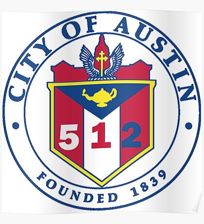 City of Austin Seal with 512 Area Code Poster