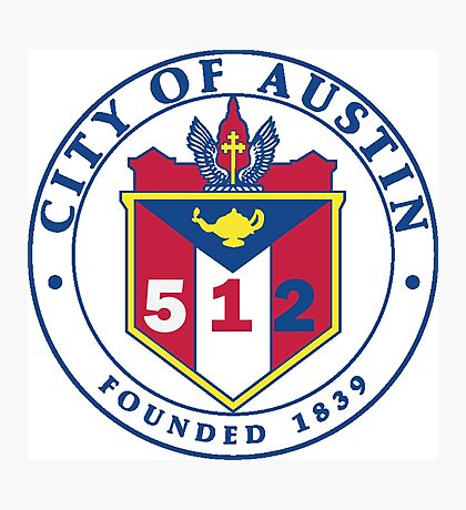 City of Austin Seal with 512 Area Code Photographic Print