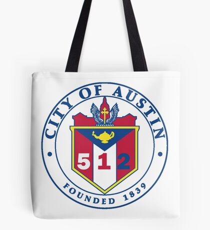 City of Austin Seal with 512 Area Code Tote Bag