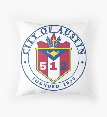 City of Austin Seal with 512 Area Code Throw Pillow