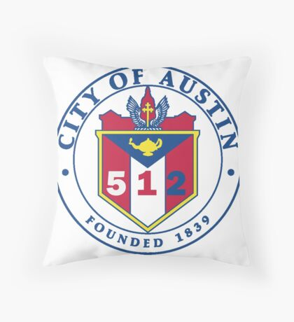 City of Austin Seal with 512 Area Code Floor Pillow