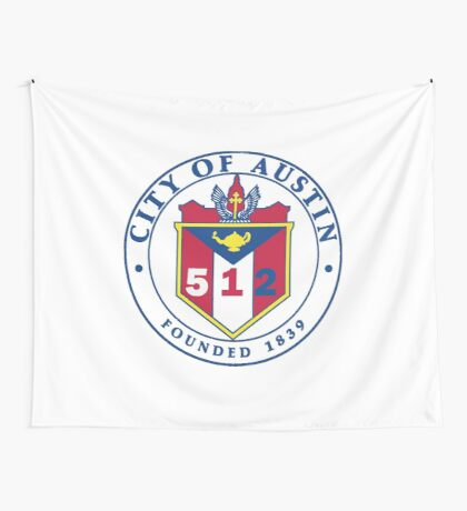 City of Austin Seal with 512 Area Code Wall Tapestry