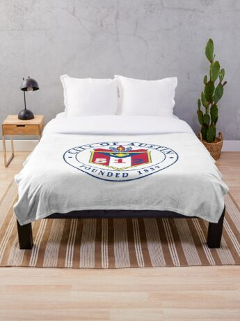 City of Austin Seal with 512 Area Code Throw Blanket