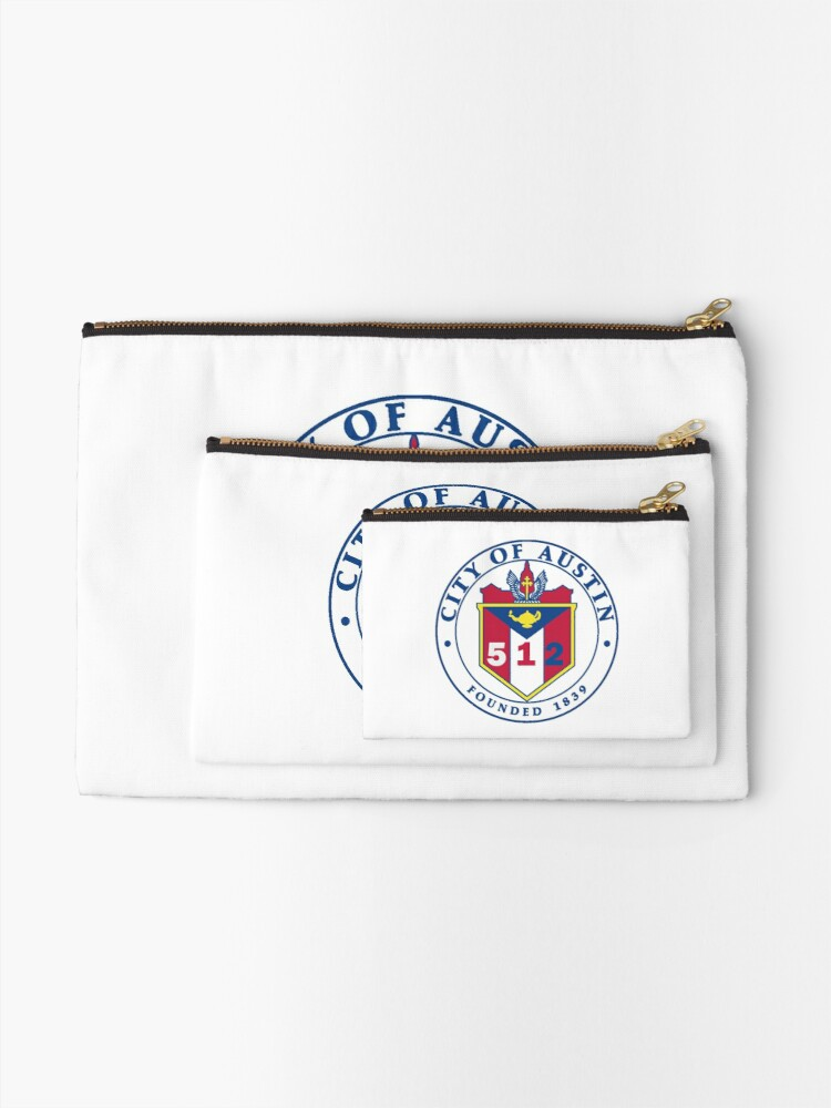 Alternate view of City of Austin Seal with 512 Area Code Zipper Pouch