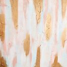 Pastel Pink, Gold, and Blue Minimal Painting by AlexandraStr