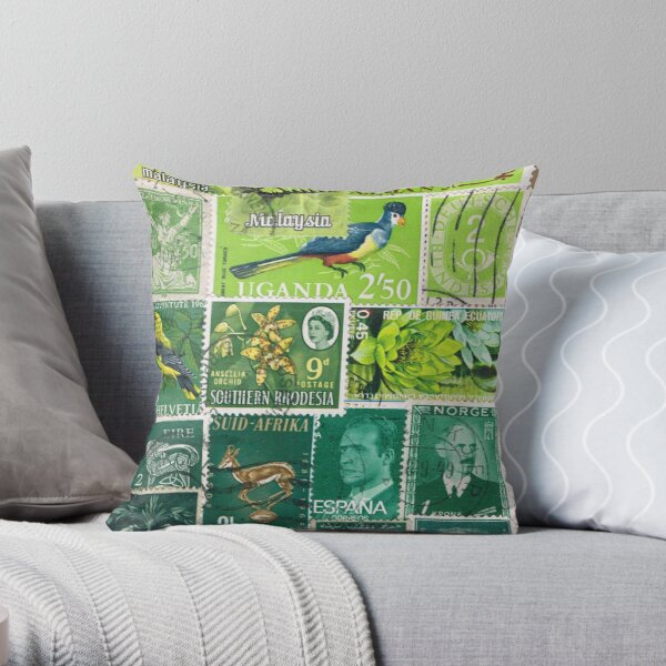 Tonal Green, Abstract Postage Stamp Collage Throw Pillow