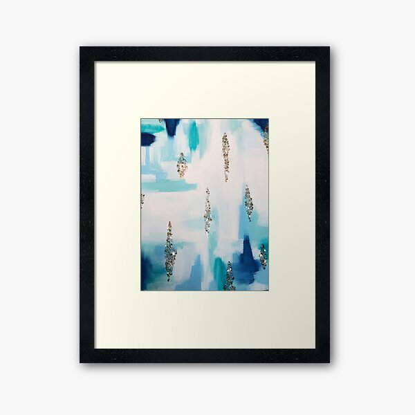 Shades of Blue Abstract Crystal Painting Framed Art Print